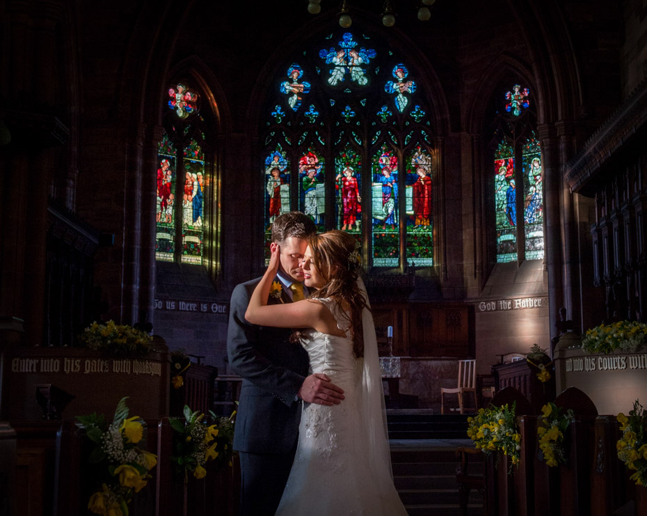 Wedding Photograph Church with Sunlight