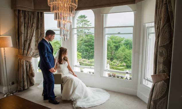 Bride and Groom at Laura Ashley Belsfield Hotel