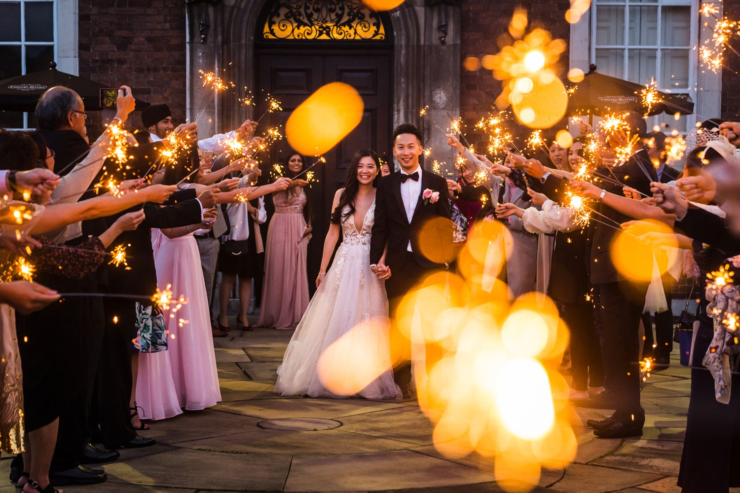 Wedding Photograph with Sparklers in Liverpool