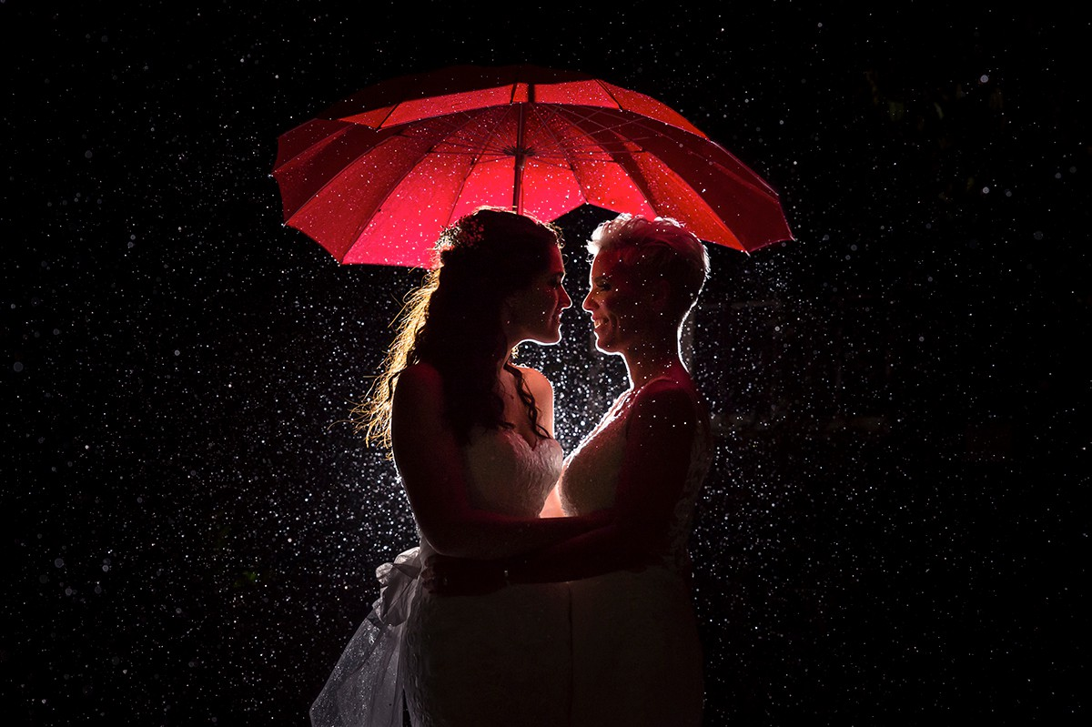Liverpool Gay Wedding Photograph - Winter Rain Unbrella
