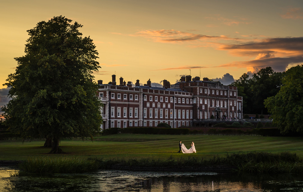 Knowsley Hall Wedding Lake Sunset