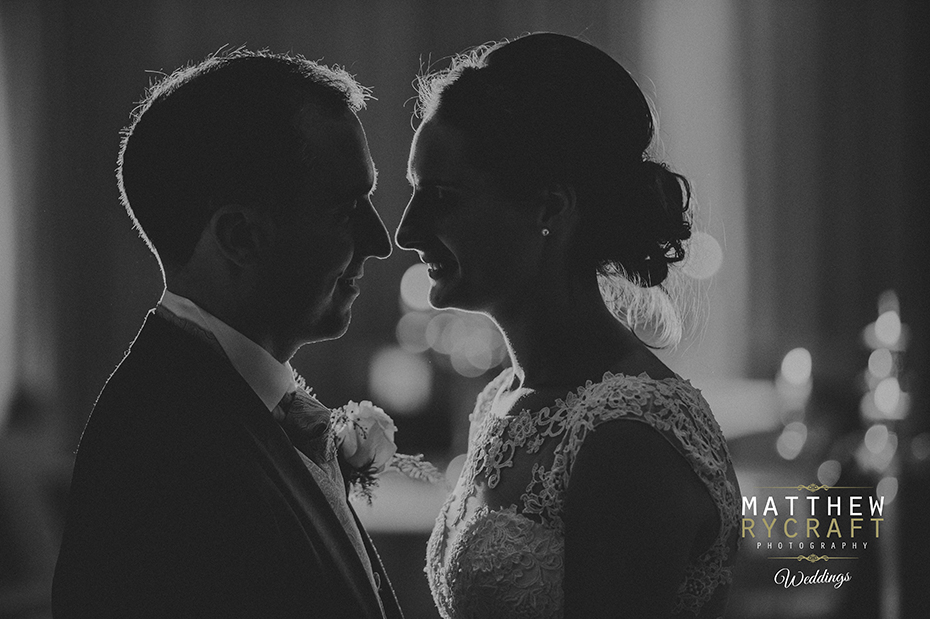 Black and White Bride and Groom Portrait Backlight