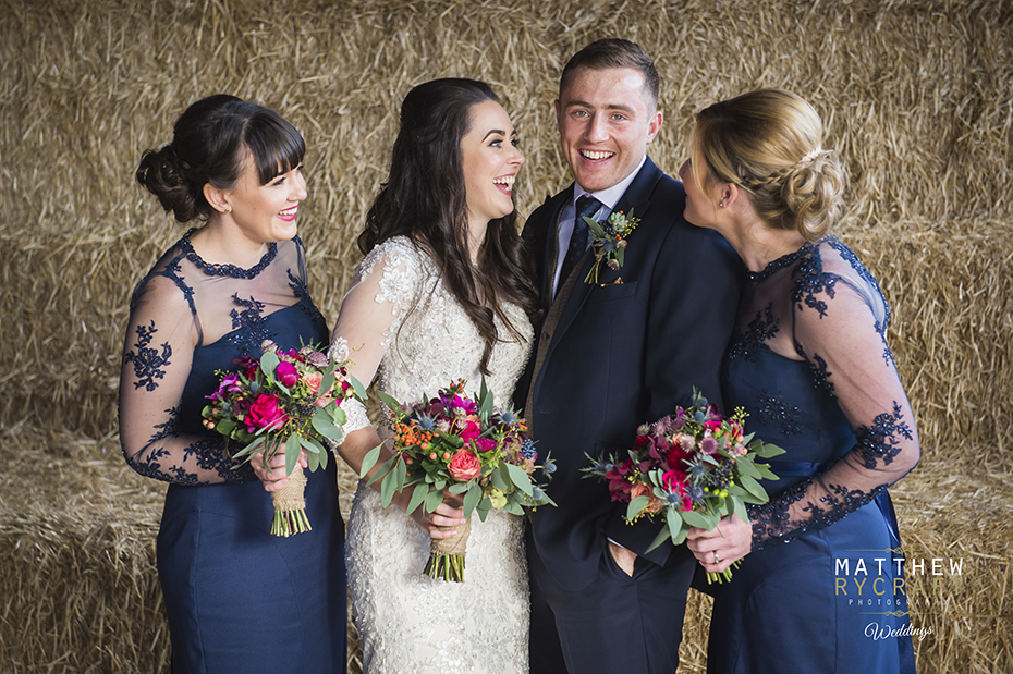 Bride Groom and Bridesmaids Wedding Photograph