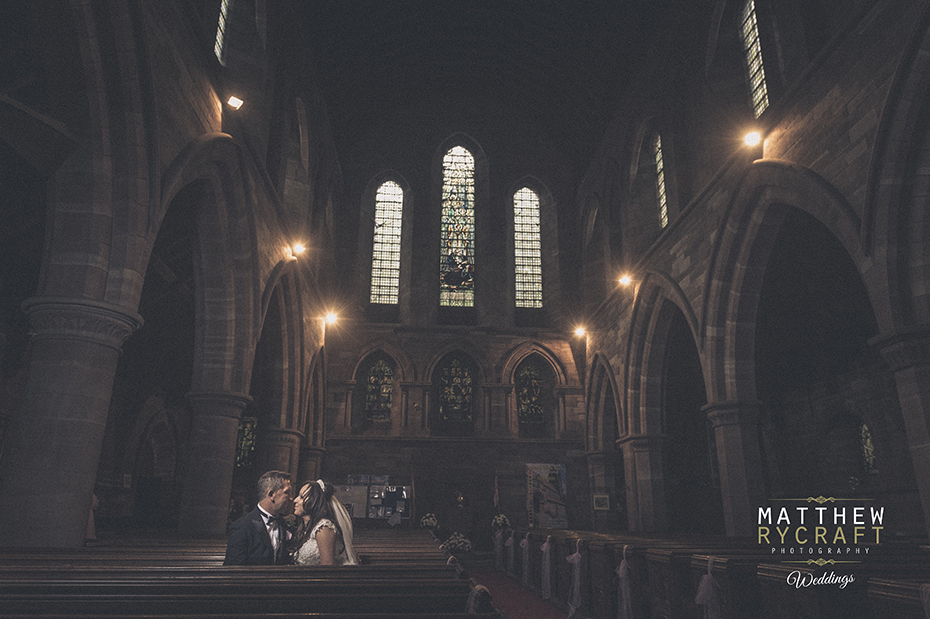 Bride and Groom Church Wedding Photograph