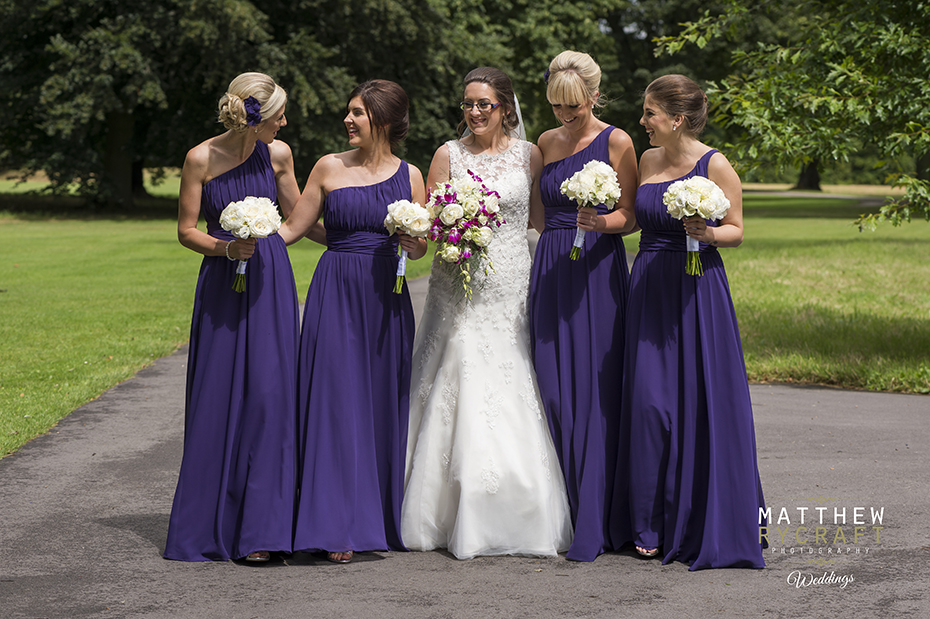 Purple off the shoulder full length bridesmaid dress