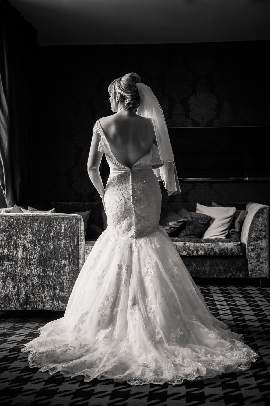Back of Wedding Dress Bridal Portrait