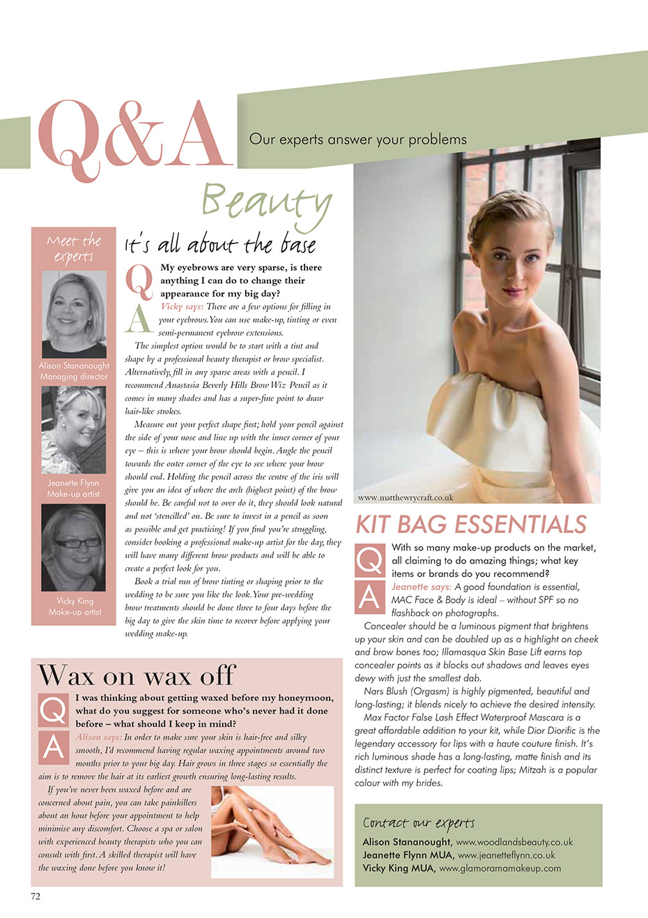 Wedding Beauty Magazine Article