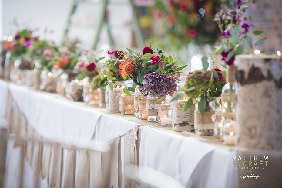 Wedding Table Dressing Jars Flowers