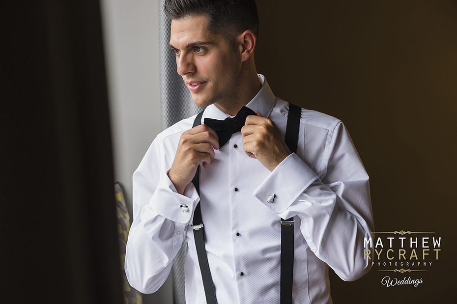 Groom Getting Ready Bow Tie