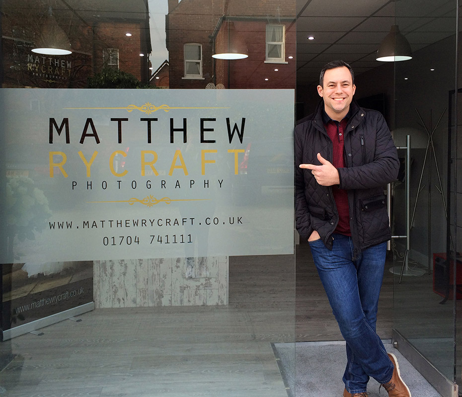 Wedding photographer Matthew Rycraft at his new Birkdale studio